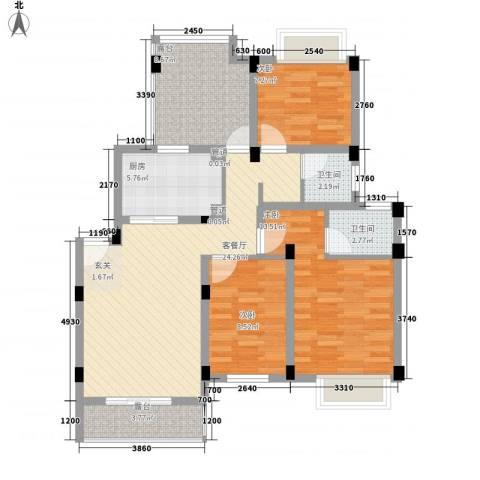 锦翠嘉苑3室1厅2卫1厨112.00㎡户型图
