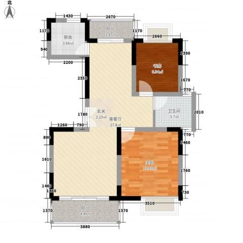 锦翠嘉苑2室1厅1卫1厨89.00㎡户型图