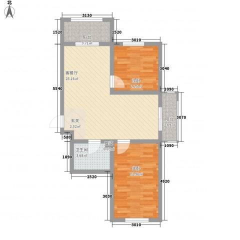 金丰紫馨花园2室1厅1卫0厨77.00㎡户型图