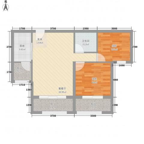 香林郡2室1厅1卫1厨90.00㎡户型图