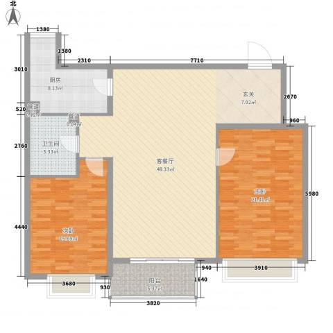 康泰新苑2室1厅1卫1厨144.00㎡户型图