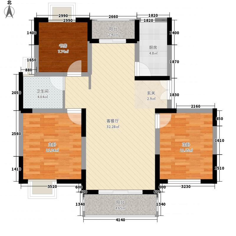 锦翠嘉苑113.95㎡小高层标准3房户型3室2厅1卫
