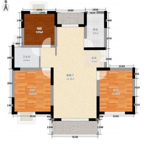 锦翠嘉苑3室1厅1卫1厨114.00㎡户型图