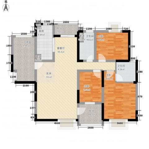 蜀翠苑3室1厅2卫1厨143.00㎡户型图