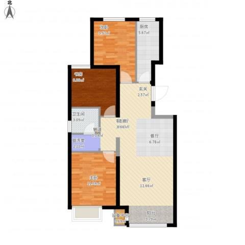 中国水电・海赋外滩3室1厅1卫1厨108.00㎡户型图