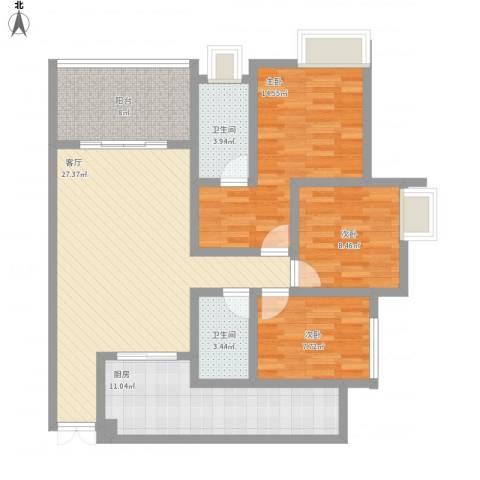 寰宇世家3室1厅2卫1厨124.00㎡户型图