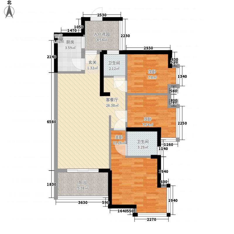 万象天成8.00㎡2栋标准层C户型3室2厅2卫