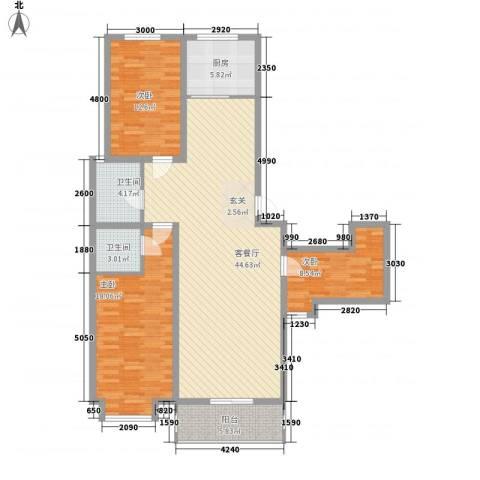 水悦3室1厅2卫1厨144.00㎡户型图