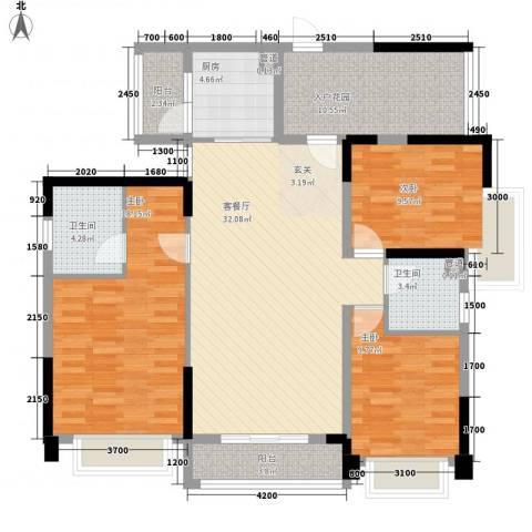 益田大运城邦3室1厅2卫1厨141.00㎡户型图