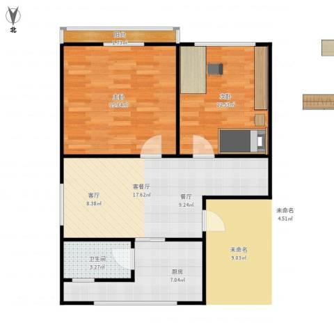 德胜新村南2室1厅1卫1厨79.00㎡户型图