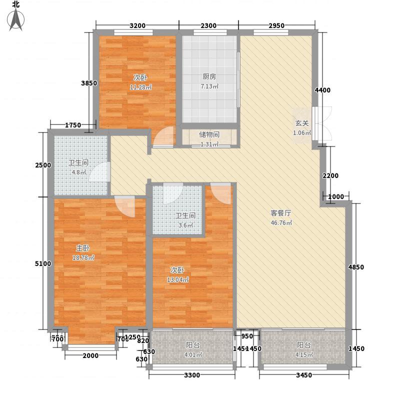 鲁银城市公元145.00㎡F户型3室2厅1卫1厨