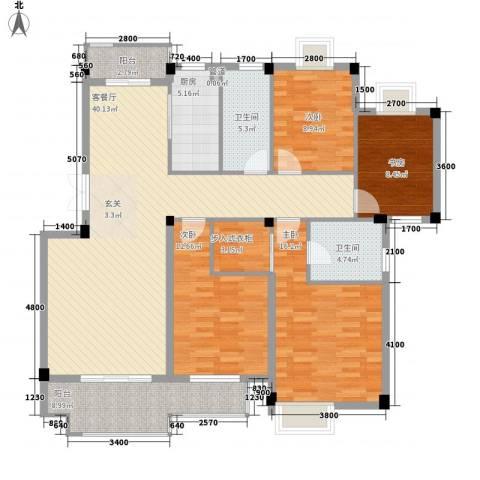 东方巴黎城4室1厅2卫1厨116.57㎡户型图