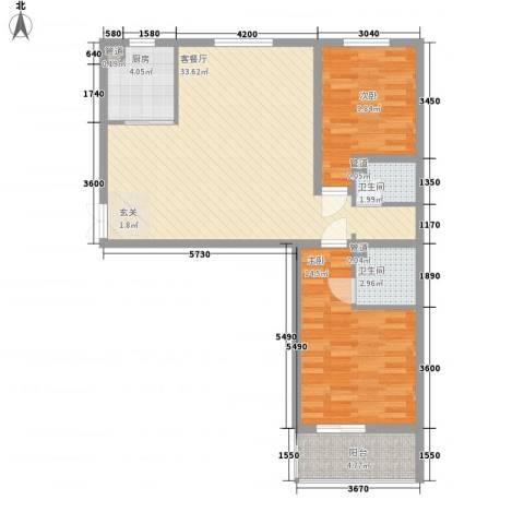 水悦2室1厅2卫1厨102.00㎡户型图