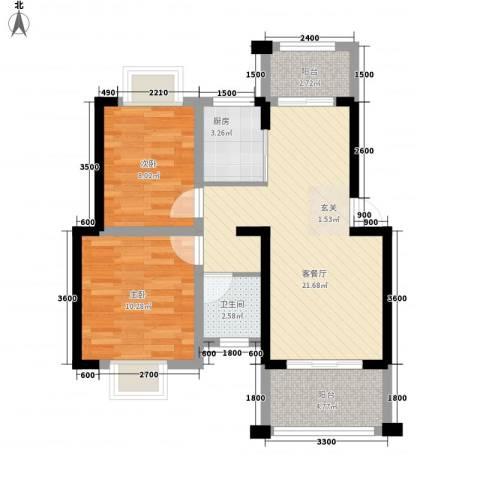 知言・棋子湾一号2室1厅1卫1厨68.00㎡户型图