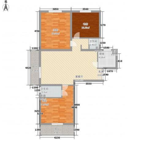 水悦3室1厅2卫1厨129.00㎡户型图