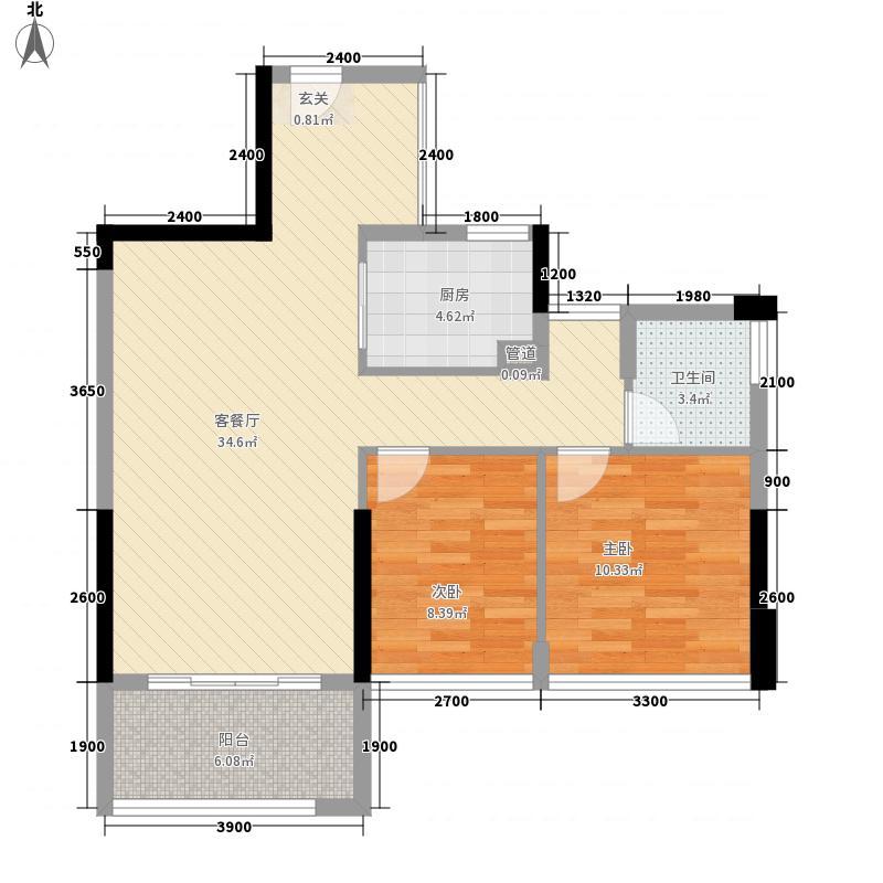 冠亚国际星城9-2-F-1户型2厅1卫