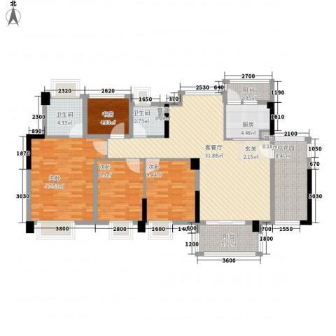 益田大运城邦4室1厅2卫1厨145.00㎡户型图
