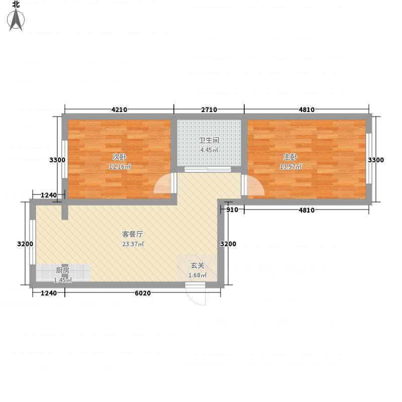 传盛・城富花园65.00㎡一期1号楼多层标准层D户型2室1厅1卫1厨