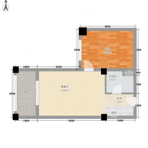 知言・棋子湾一号1室1厅1卫0厨62.00㎡户型图