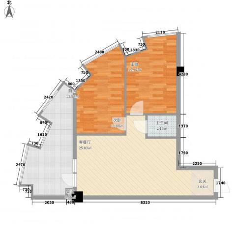 湖里大唐世家2室1厅1卫1厨89.00㎡户型图