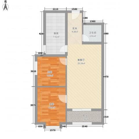 新野上郡2室1厅1卫1厨80.00㎡户型图