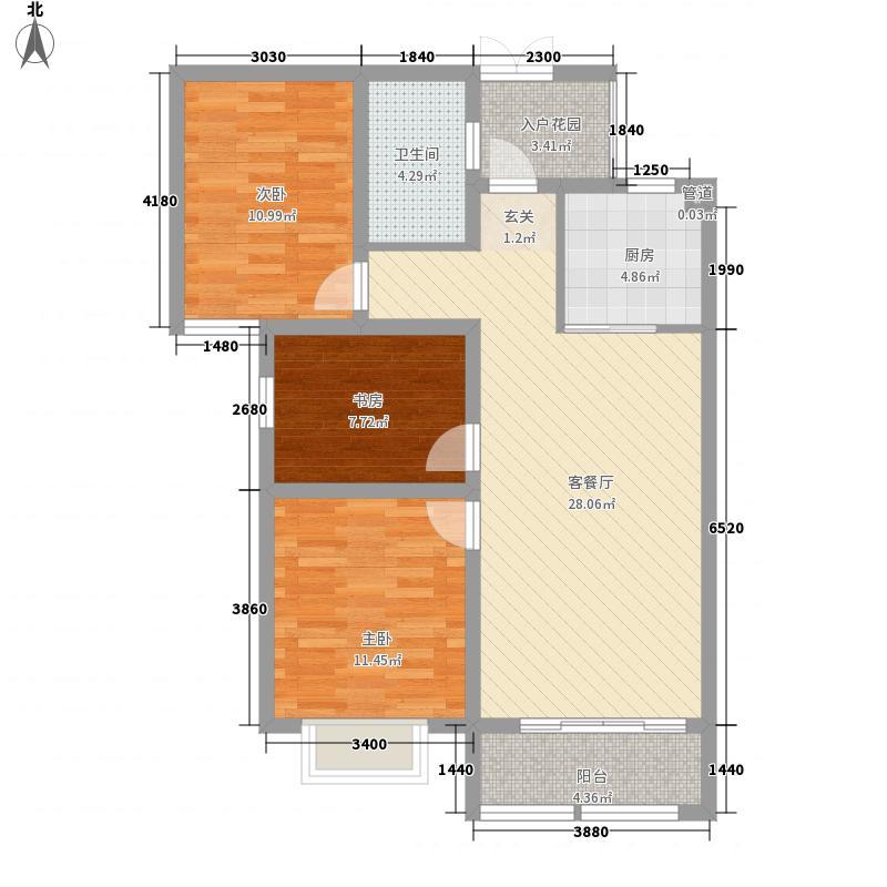 华强领秀城户型图高层B2户 3室2厅1卫1厨