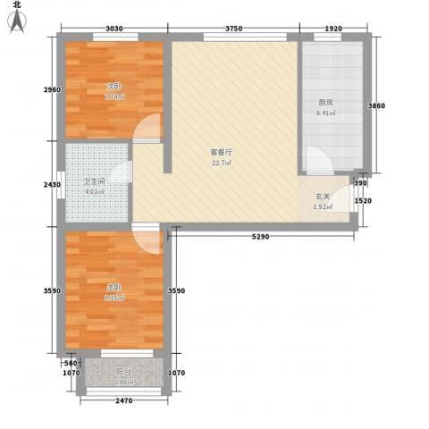 新野上郡2室1厅1卫1厨77.00㎡户型图