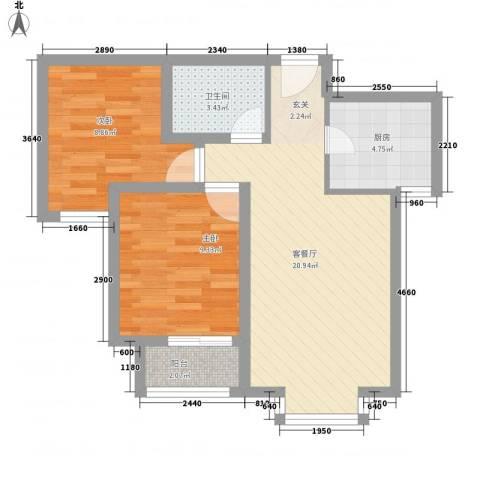 新野上郡2室1厅1卫1厨72.00㎡户型图