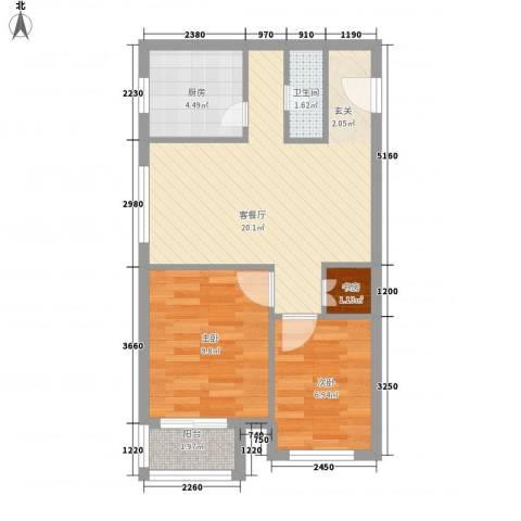 新野上郡3室1厅1卫1厨65.00㎡户型图