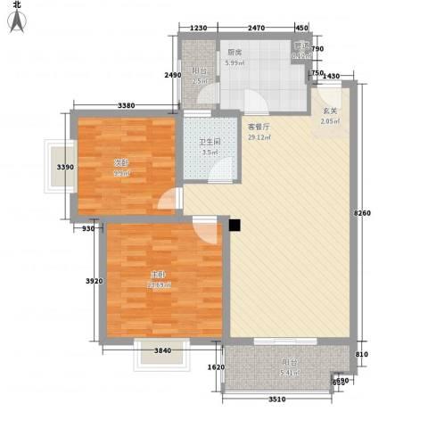 汪塘东村2室1厅1卫1厨70.23㎡户型图