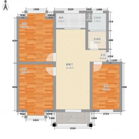 闽泰城市花园3室1厅1卫1厨104.00㎡户型图