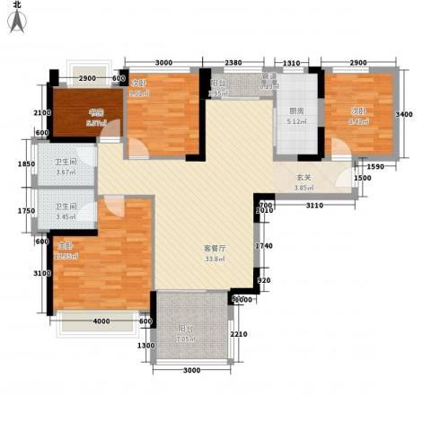 凤雅颂4室1厅2卫1厨131.00㎡户型图