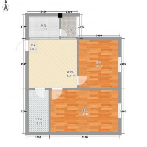 龙海滨城2室1厅1卫1厨67.00㎡户型图