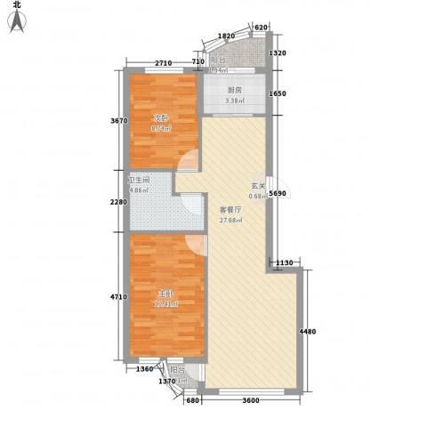 龙海滨城2室1厅1卫1厨85.00㎡户型图
