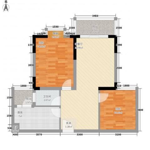 江源花园2室1厅1卫1厨93.00㎡户型图