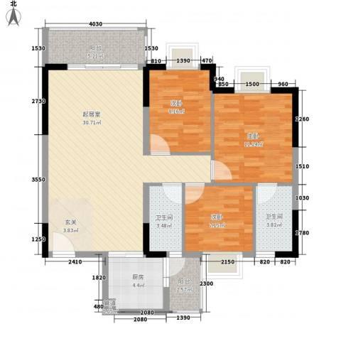 西江月雅园3室0厅2卫1厨128.00㎡户型图