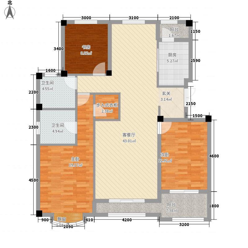 ��玫瑰园13.37㎡户型3室2厅2卫