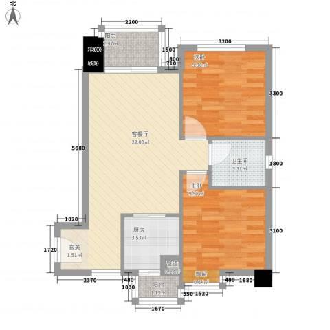 金沙湾花园2室1厅1卫1厨120.00㎡户型图