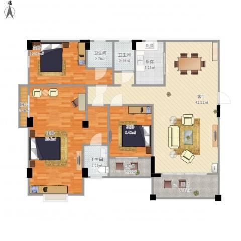 梅园新村3室1厅3卫1厨159.00㎡户型图