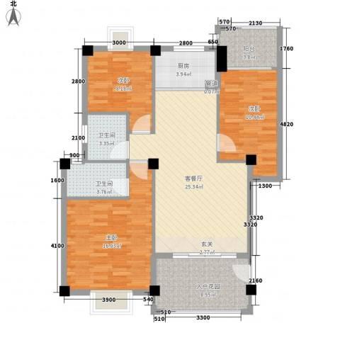 东方新城3室1厅2卫1厨83.85㎡户型图
