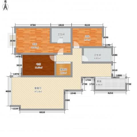 铂庭3室1厅2卫1厨124.79㎡户型图