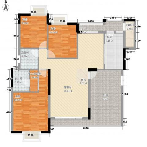 鲁能星城一街区3室1厅2卫1厨115.26㎡户型图