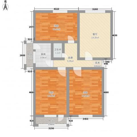 普利永庆街1号3室1厅1卫1厨99.00㎡户型图