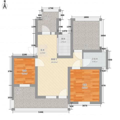 滨河湾2室1厅1卫1厨82.00㎡户型图