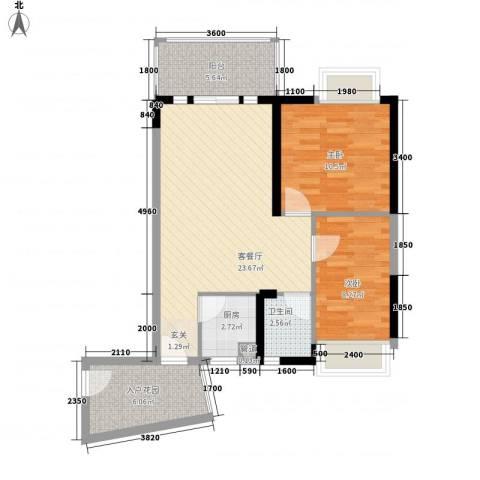 香樟国际.2室1厅1卫1厨76.00㎡户型图