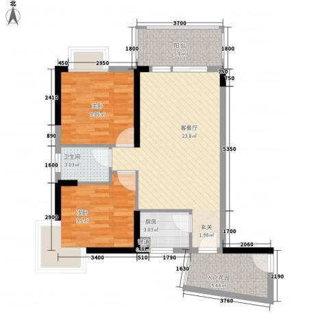 香樟国际.2室1厅1卫1厨78.00㎡户型图