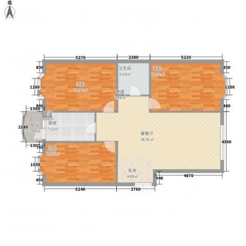 铭钻家园3室1厅1卫1厨105.25㎡户型图