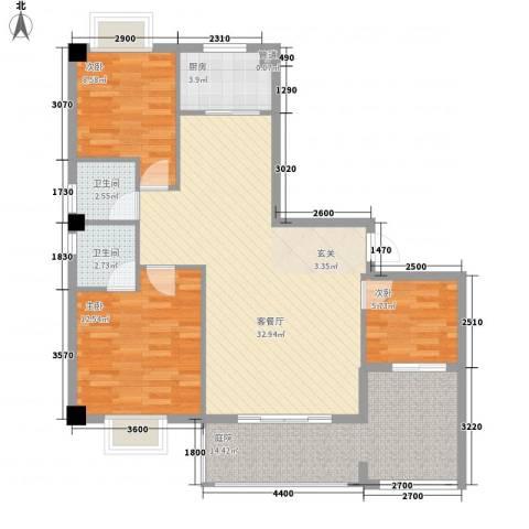 紫金家园3室1厅2卫1厨83.46㎡户型图