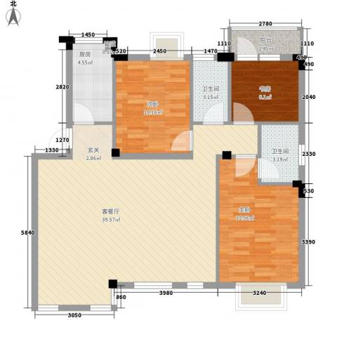 华新苑3室1厅2卫1厨115.00㎡户型图
