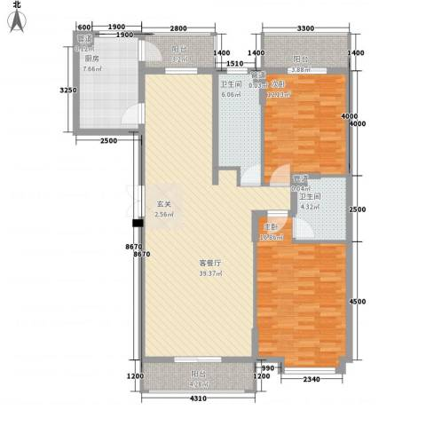 爱建泽园2室1厅2卫1厨139.00㎡户型图